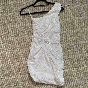 White sequin dress wore for a formal